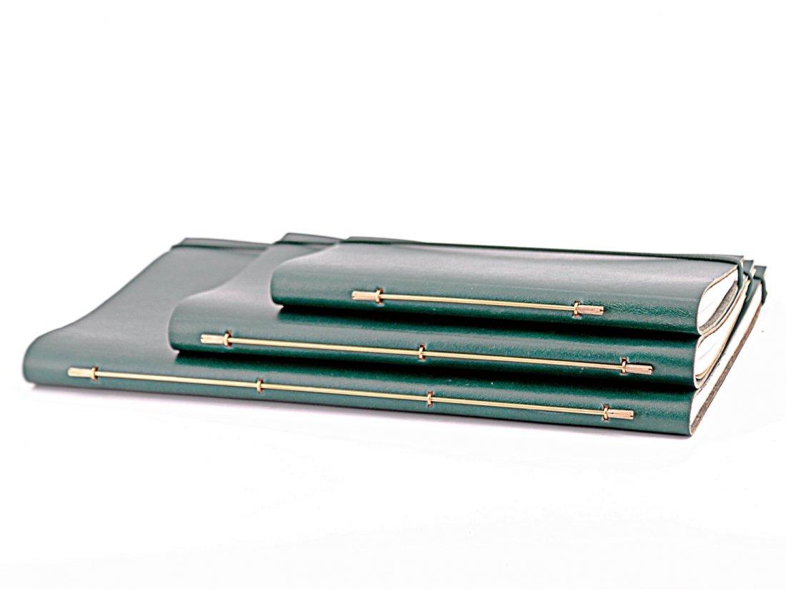 Carnet Cuir S - Vert pin lisse